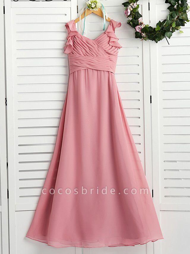 A-Line Boat Neck Maxi Chiffon Junior Bridesmaid Dress With Cascading Ruffles / Ruching