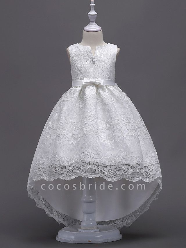 Princess Asymmetrical Wedding / First Communion Flower Girl Dresses - Lace / Satin / Tulle Sleeveless V Wire With Lace / Belt / Bow(S)