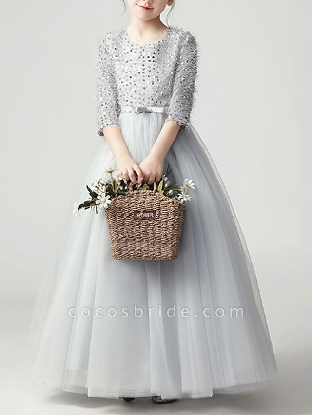 Ball Gown Floor Length Pageant Flower Girl Dresses - Tulle 3/4 Length Sleeve Jewel Neck With Feathers / Fur / Bow(S) / Paillette