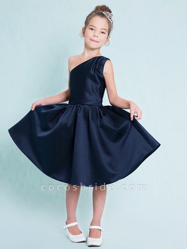 A-Line One Shoulder Knee Length Satin Junior Bridesmaid Dress With Sash / Ribbon / Pleats / Natural