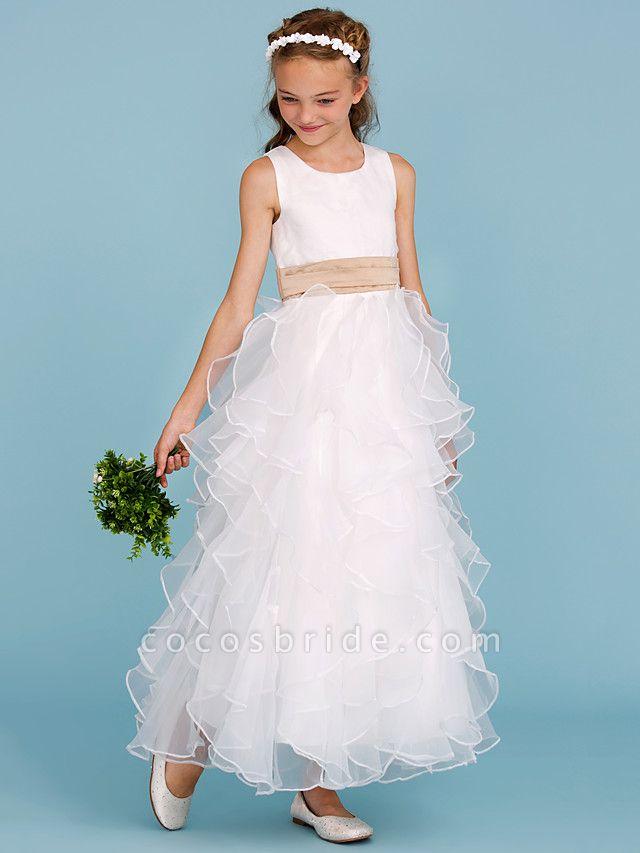 Princess / A-Line Jewel Neck Ankle Length Organza / Satin Junior Bridesmaid Dress With Sash / Ribbon / Cascading Ruffles / Wedding Party