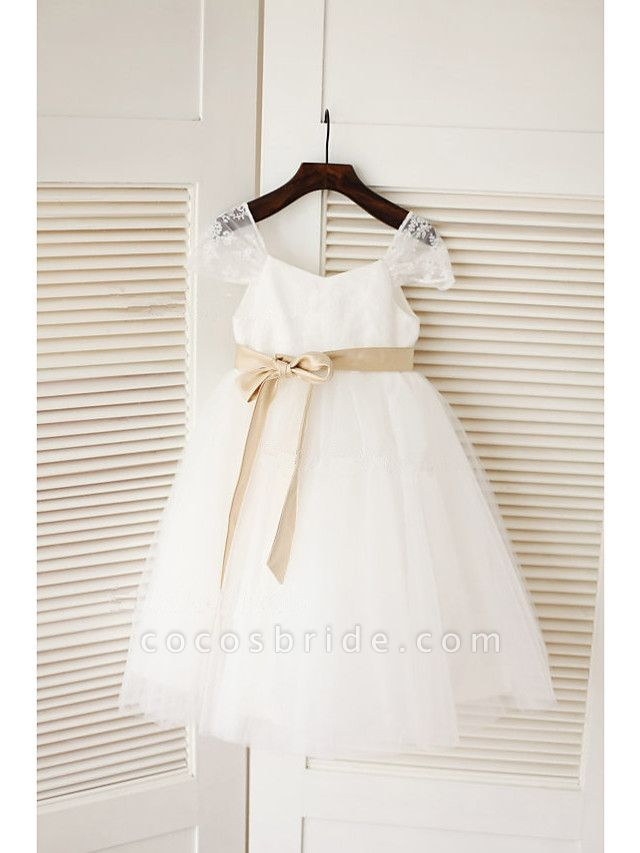 A-Line Tea Length Wedding / First Communion Flower Girl Dresses - Lace / Satin / Tulle Sleeveless Jewel Neck With Belt