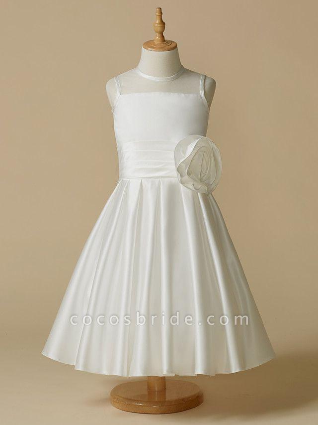 A-Line Tea Length Wedding / First Communion Flower Girl Dresses - Taffeta Sleeveless Jewel Neck With Flower