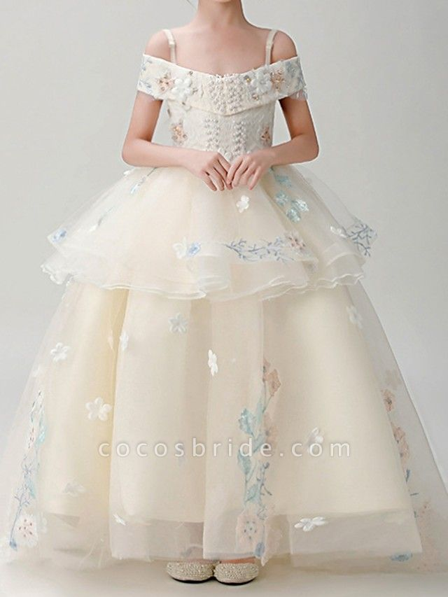 Ball Gown Sweep / Brush Train Pageant Flower Girl Dresses - Polyester Short Sleeve Spaghetti Strap With Appliques
