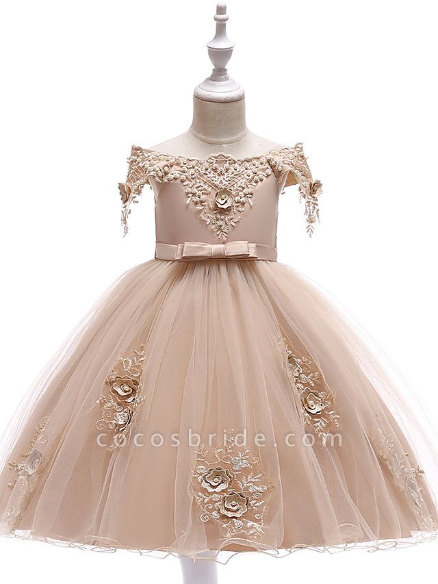 Princess Above Knee Wedding / Party / Pageant Flower Girl Dresses - Satin / Tulle Short Sleeve Off Shoulder With Lace / Beading / Appliques