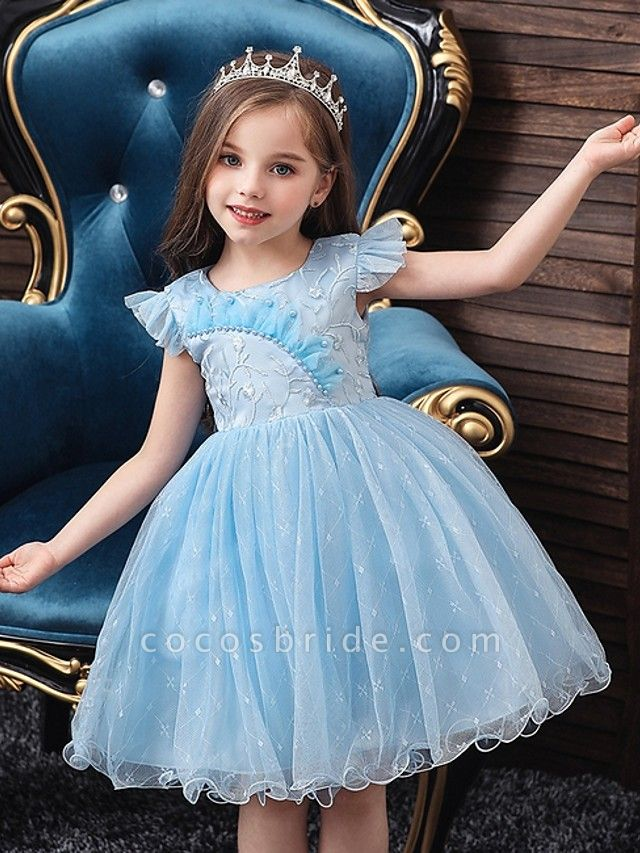 Princess / Ball Gown Knee Length Wedding / Party Flower Girl Dresses - Tulle Cap Sleeve Jewel Neck With Bow(S) / Embroidery