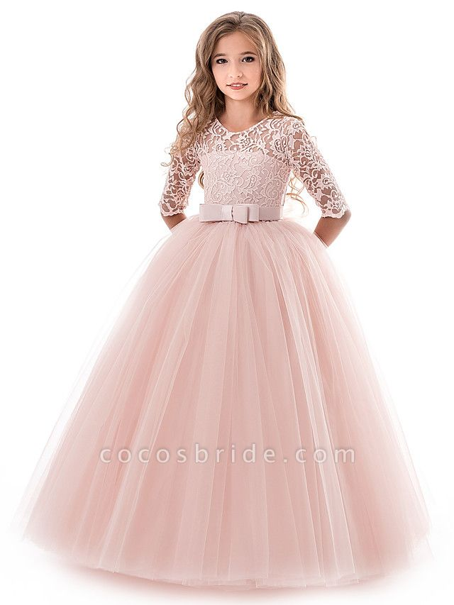 Princess Long Length Wedding / Party / Pageant Flower Girl Dresses - Lace / Tulle Half Sleeve Jewel Neck With Lace / Belt