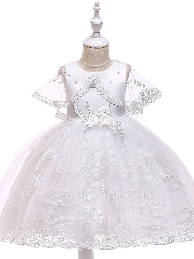 Princess Medium Length Wedding / First Communion Flower Girl Dresses - Lace / Tulle / Mikado Sleeveless Jewel Neck With Pearls / Appliques / Bandage