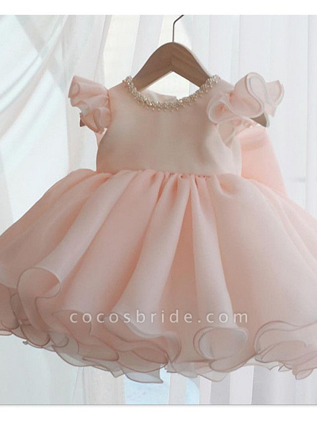 A-Line Short / Mini Party / Birthday Flower Girl Dresses - Poly Sleeveless Jewel Neck With Lace / Bow(S) / Tier