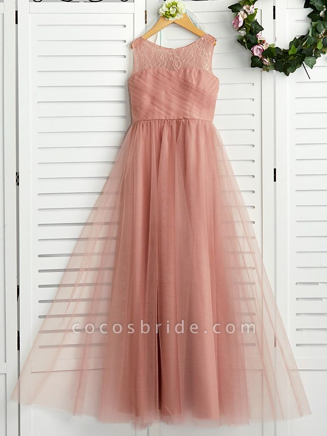 A-Line Crew Neck Maxi Lace / Tulle Junior Bridesmaid Dress With Lace / Pleats