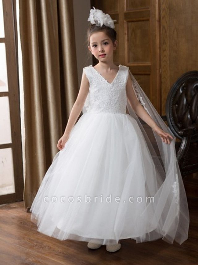 Ball Gown Floor Length Wedding Flower Girl Dresses - Chiffon Sleeveless V Neck With Bow(S) / Solid