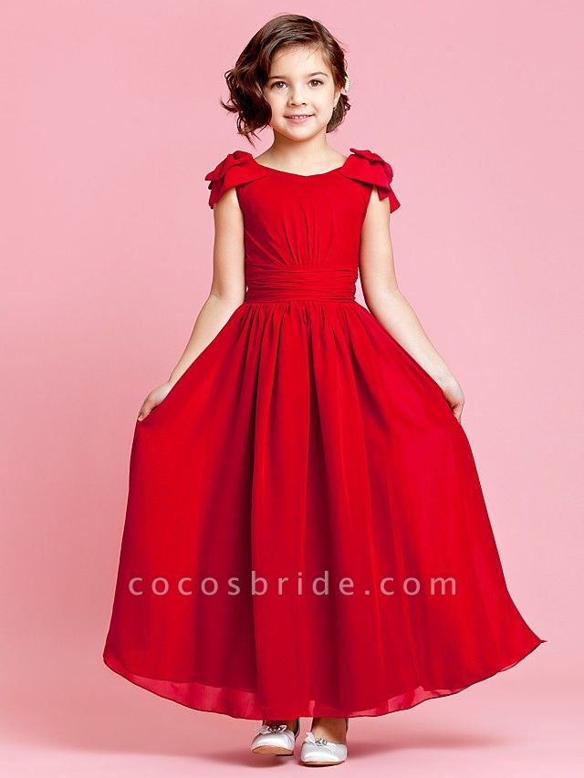 Princess / A-Line Ankle Length Pageant Flower Girl Dresses - Chiffon Sleeveless Jewel Neck With Bow(S) / Buttons / Ruched / Spring / Summer / Fall