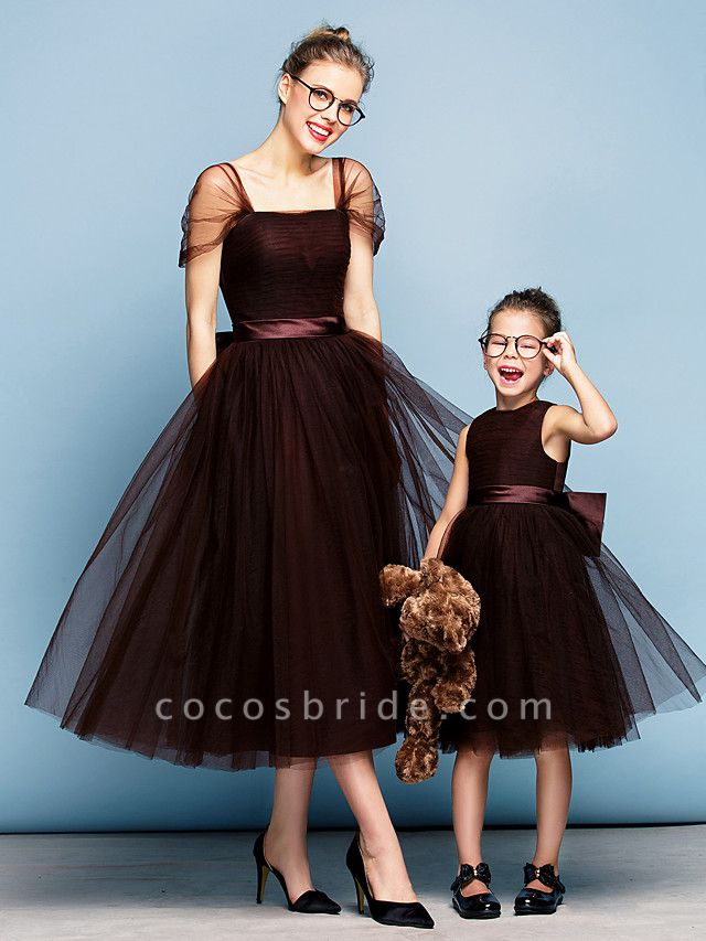 Princess Tea Length Party / Prom / Formal Evening Flower Girl Dresses - Tulle Short Sleeve Square Neck With Bow(S) / Ruched / Elegant