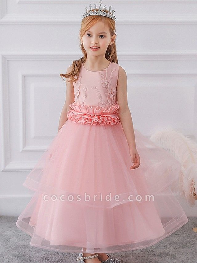 Princess / Ball Gown Ankle Length Wedding / Party Flower Girl Dresses - Tulle Sleeveless Jewel Neck With Sash / Ribbon / Bow(S) / Appliques