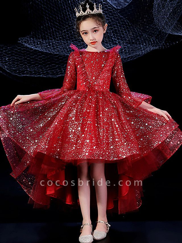 Princess Floor Length Formal Evening / Birthday Flower Girl Dresses - Tulle Long Sleeve Illusion Neck With Pattern / Print / Paillette