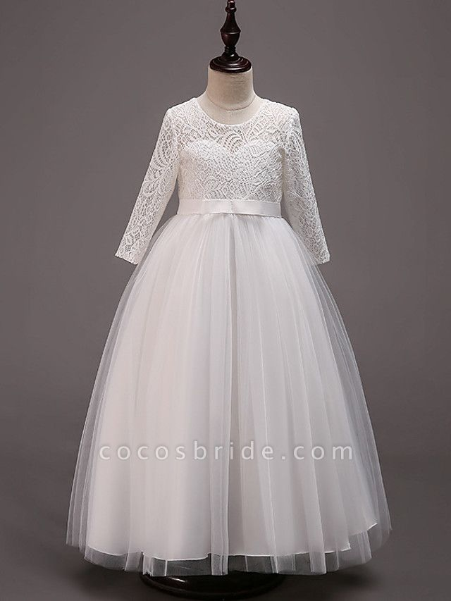 Princess Floor Length Wedding / Party / Pageant Flower Girl Dresses - Lace / Tulle / Cotton Half Sleeve Jewel Neck With Lace / Belt
