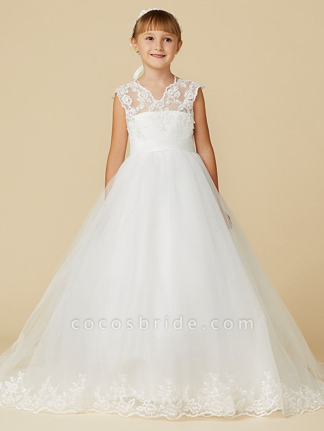 Princess Court Train Wedding / First Communion Flower Girl Dresses - Lace / Tulle Sleeveless V Neck With Sash / Ribbon / Appliques