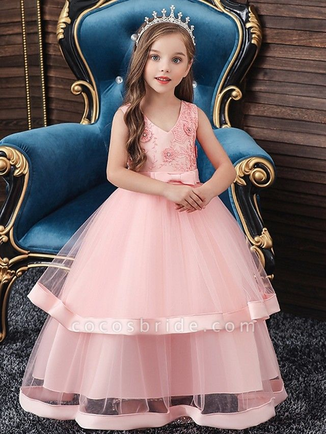 Princess / Ball Gown Floor Length Wedding / Party Flower Girl Dresses - Tulle Sleeveless V Neck With Sash / Ribbon / Bow(S) / Tier