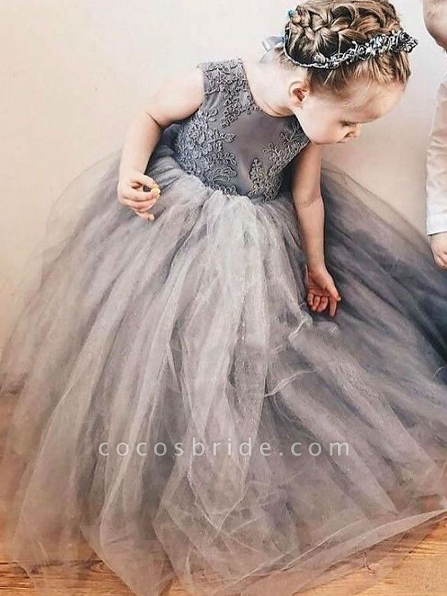 A-Line Sweep / Brush Train Wedding Flower Girl Dresses - Satin / Taffeta / Tulle Sleeveless Jewel Neck With Bow(S) / Tier / Solid