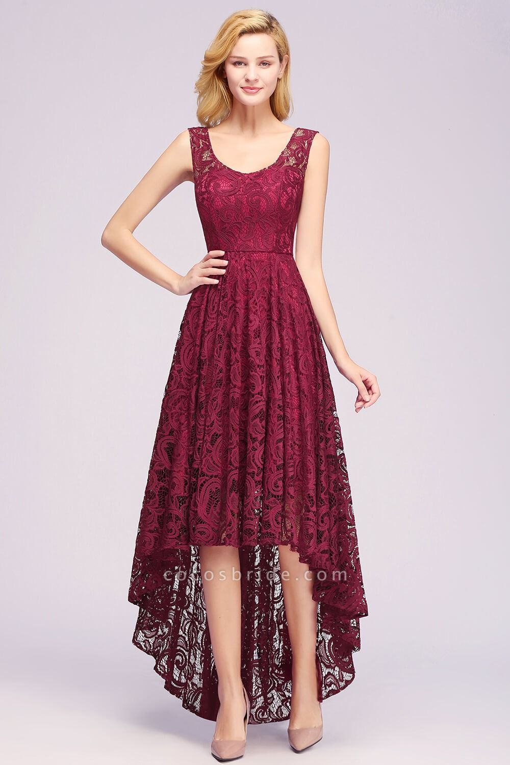 Elegant A-line Sleeveless Crew Hi-lo Lace Dress