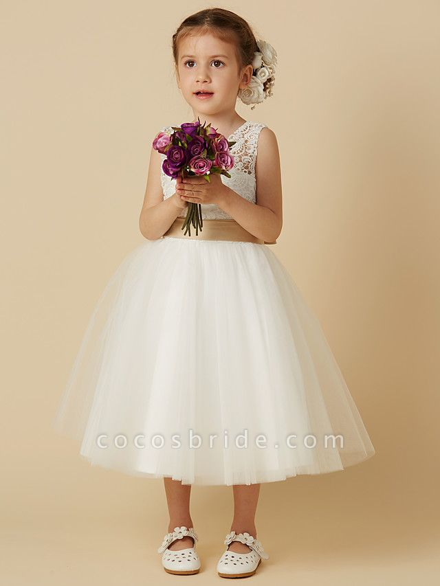 Princess Knee Length Wedding / First Communion Flower Girl Dresses - Lace / Tulle Sleeveless Jewel Neck With Sash / Ribbon / Bow(S)