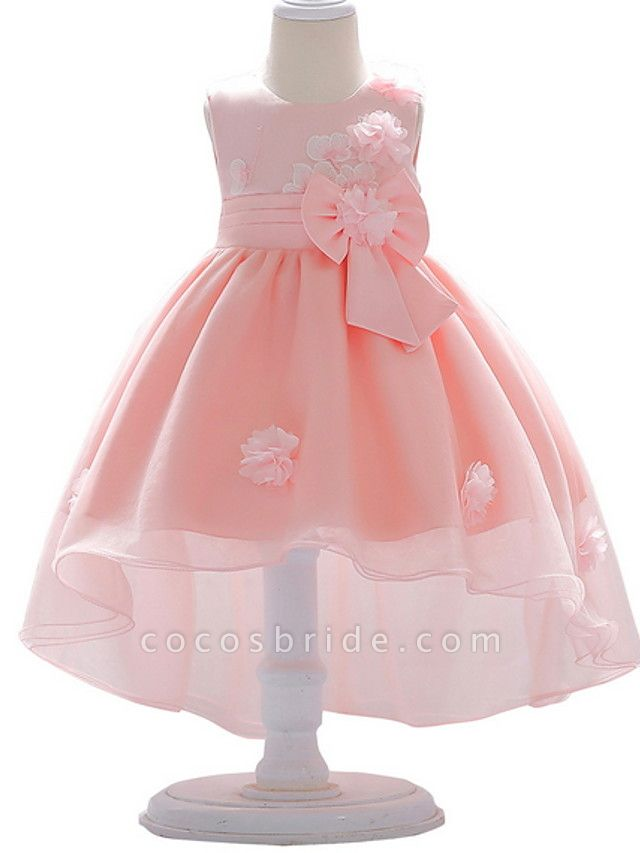 Ball Gown Court Train Wedding / Party Flower Girl Dresses - Satin / Tulle Sleeveless Jewel Neck With Bow(S) / Appliques