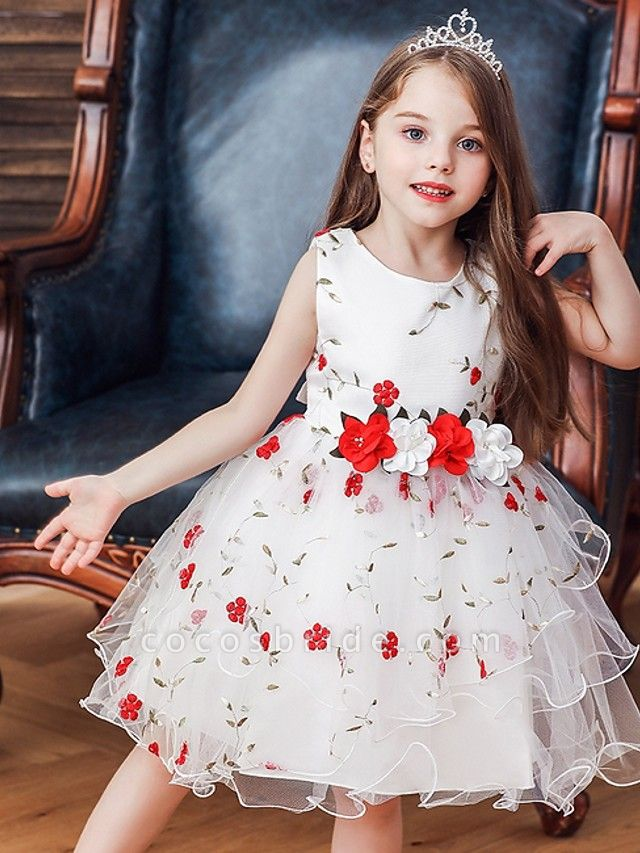 Princess / Ball Gown Knee Length Wedding / Party Flower Girl Dresses - Satin / Tulle Sleeveless Jewel Neck With Bow(S) / Flower