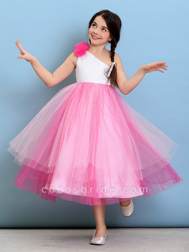 Ball Gown One Shoulder Tea Length Tulle Junior Bridesmaid Dress With Flower / Natural