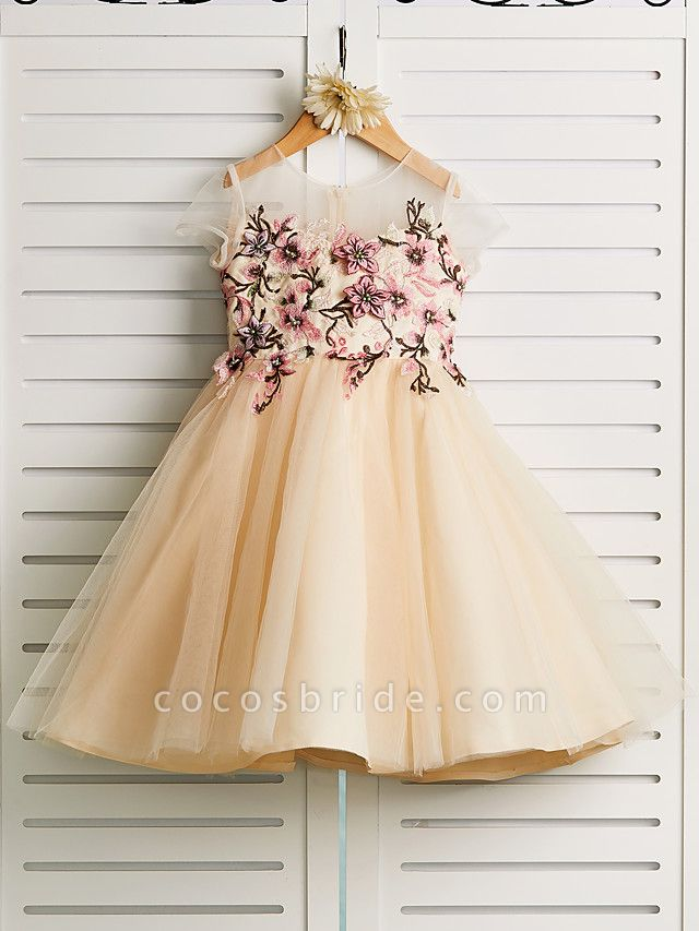 Princess Knee Length Wedding / Birthday / Pageant Flower Girl Dresses - Satin / Tulle Cap Sleeve Jewel Neck With Embroidery