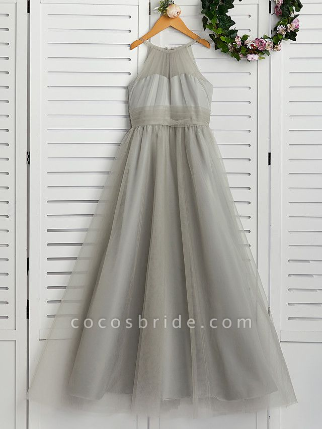 A-Line Crew Neck Floor Length Tulle Junior Bridesmaid Dress With Ruching