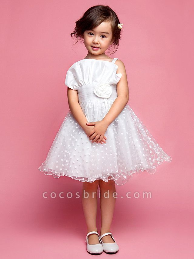 Princess / A-Line Knee Length Wedding Party Cotton / Polyester Sleeveless Spaghetti Strap With Lace / Flower / Spring / Summer / Fall