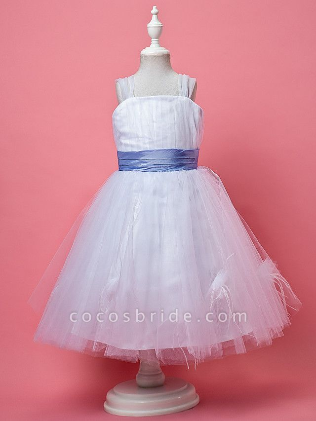 Princess / A-Line Knee Length Tulle Sleeveless Straps With Feathers / Fur / Sash / Ribbon / Ruched