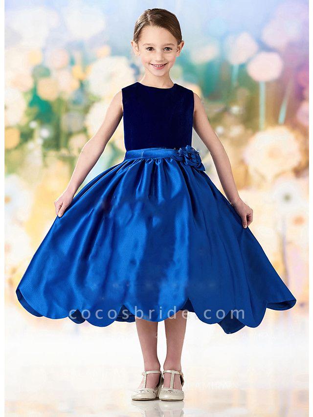 A-Line Ankle Length Wedding / Party Flower Girl Dresses - Satin / Velvet Sleeveless Jewel Neck With Ruching