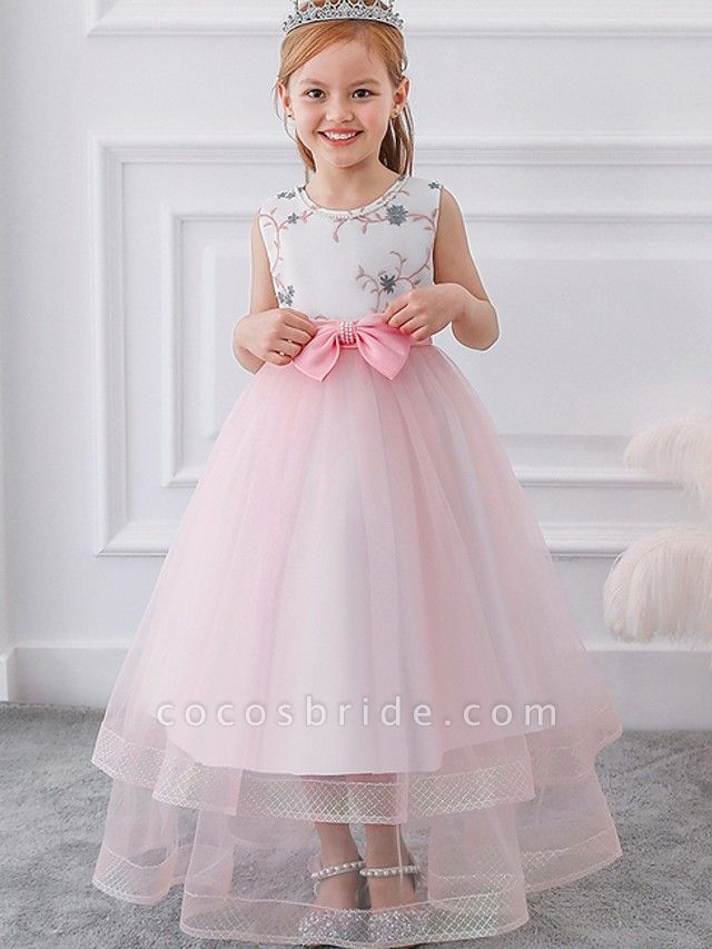 Princess / Ball Gown Floor Length Wedding / Party Flower Girl Dresses - Tulle Sleeveless Jewel Neck With Sash / Ribbon / Bow(S) / Appliques