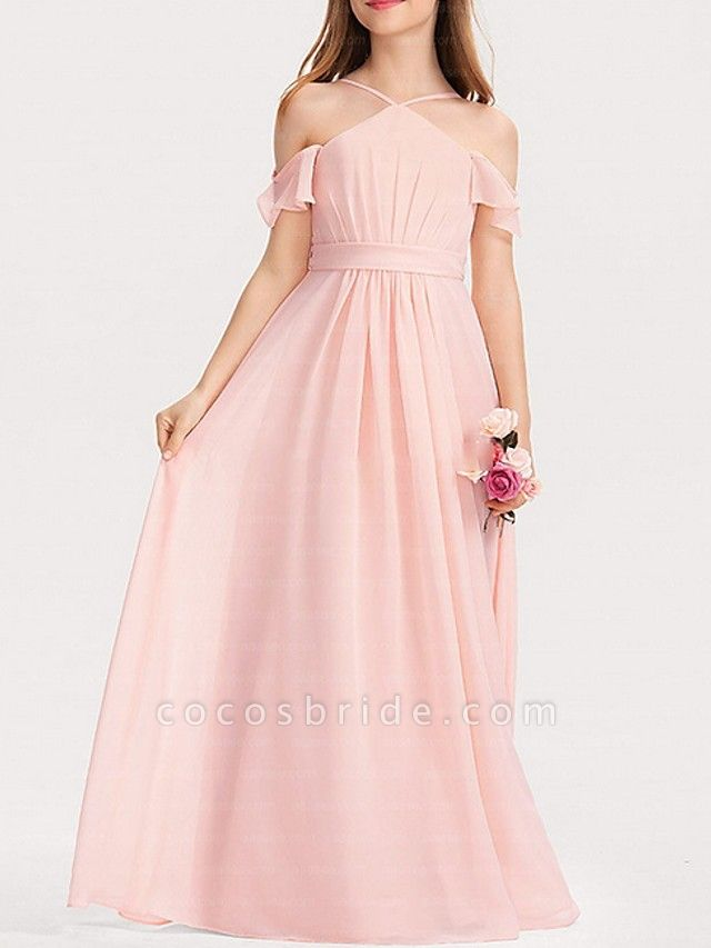 A-Line Floor Length Pageant Flower Girl Dresses - Polyester Short Sleeve Spaghetti Strap With Bow(S)