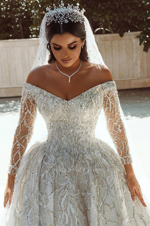 Luxurious Sequins Long Sleeve Satin Ball Gown Wedding Dress