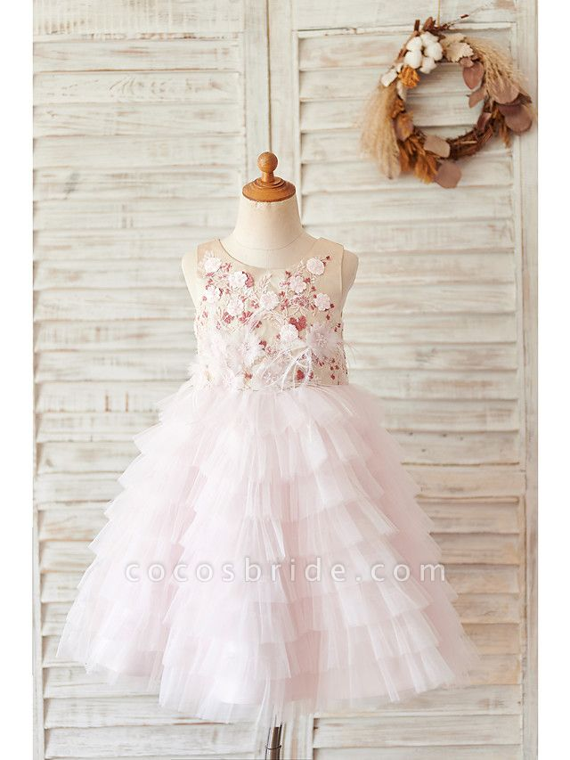 Ball Gown Knee Length Wedding / Birthday Flower Girl Dresses - Satin / Tulle Sleeveless Jewel Neck With Feathers / Fur / Beading / Embroidery