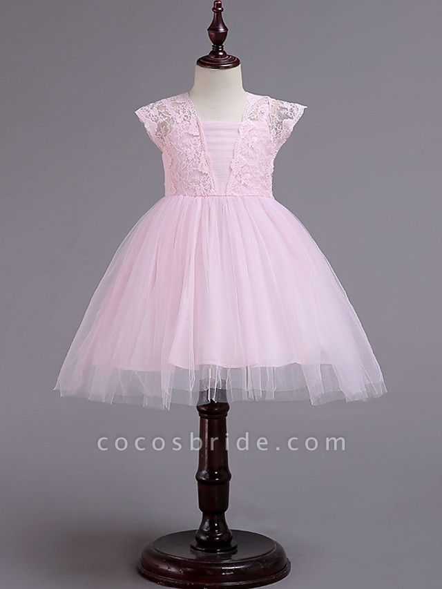 Princess Knee Length Wedding / Party / Pageant Flower Girl Dresses - Lace / Tulle / Cotton Cap Sleeve Square Neck With Lace / Belt