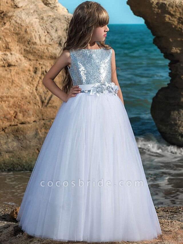 Ball Gown Maxi Wedding / Birthday / Pageant Flower Girl Dresses - Tulle Sleeveless Boat Neck With Belt / Crystals / Rhinestones / Paillette