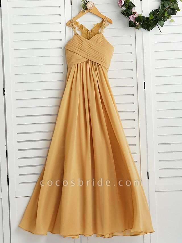 A-Line Halter Neck Floor Length Chiffon Junior Bridesmaid Dress With Appliques / Ruching / Wedding Party