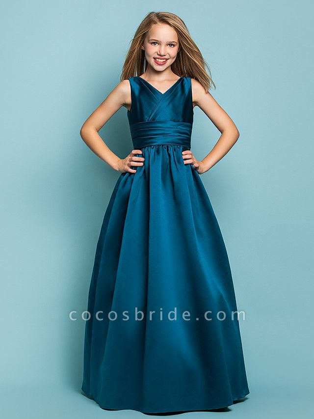 Princess / A-Line V Neck Floor Length Satin Junior Bridesmaid Dress With Sash / Ribbon / Criss Cross / Spring / Summer / Fall / Apple / Hourglass