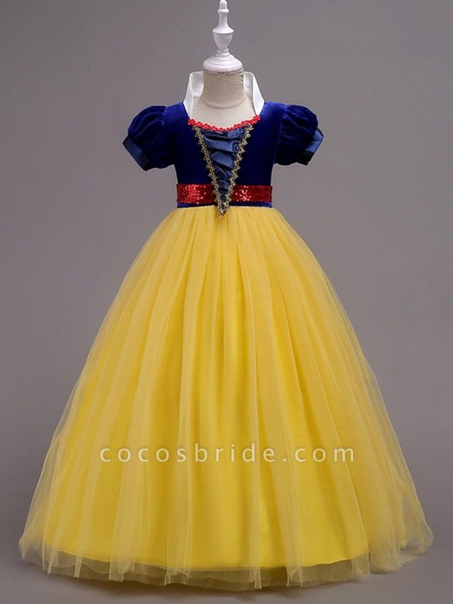 Princess / Ball Gown Floor Length Wedding / Party Flower Girl Dresses - Tulle Short Sleeve Jewel Neck With Sash / Ribbon / Tier