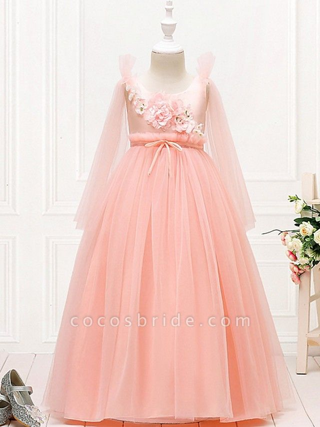 Princess / Ball Gown Floor Length Wedding / Party Flower Girl Dresses - Tulle Long Sleeve Jewel Neck With Bow(S) / Flower