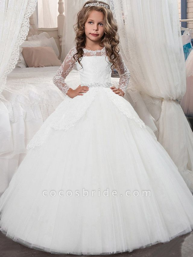 Princess Floor Length Christmas / Birthday / First Communion Flower Girl Dresses - Chiffon / Lace / Tulle Long Sleeve Jewel Neck With Lace / Crystals / Rhinestones