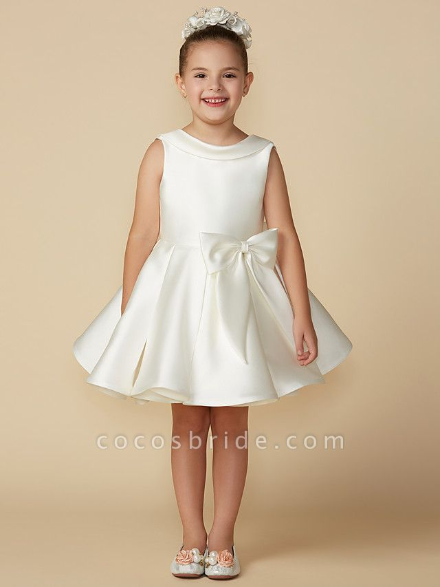 Princess Above Knee Wedding / First Communion Satin Sleeveless Jewel Neck With Bows