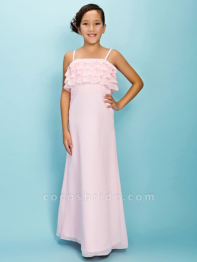 A-Line / Sheath / Column Spaghetti Strap Floor Length Chiffon Junior Bridesmaid Dress With Pleats / Ruffles / Spring / Fall / Winter / Apple / Hourglass