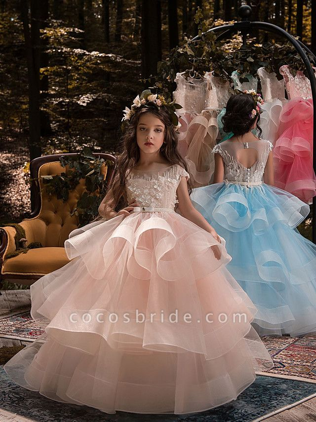 Ball Gown Sweep / Brush Train Birthday / Pageant Flower Girl Dresses - Lace / Organza / Tulle Short Sleeve Boat Neck With Heart / Belt / Beading