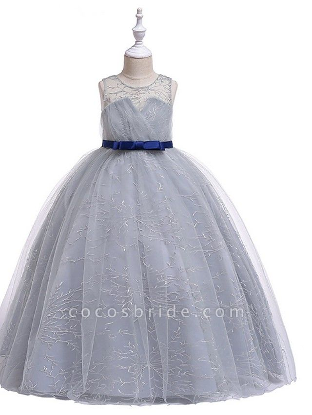 Princess Round Floor Length Cotton Junior Bridesmaid Dress With Bow(S) / Embroidery