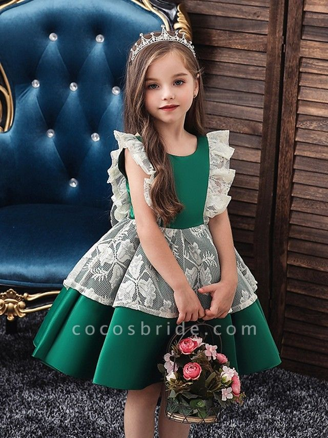 Princess / Ball Gown Knee Length Wedding / Party Flower Girl Dresses - Satin / Tulle Cap Sleeve Jewel Neck With Bow(S) / Color Block
