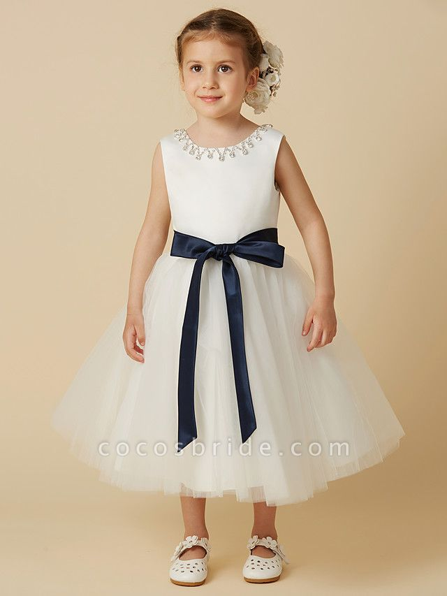 Princess Tea Length Wedding / First Communion Flower Girl Dresses - Satin / Tulle Sleeveless Jewel Neck With Sash / Ribbon / Beading